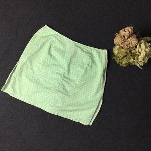 Women's Skort Skirt 100% Cotton Green Petite Size